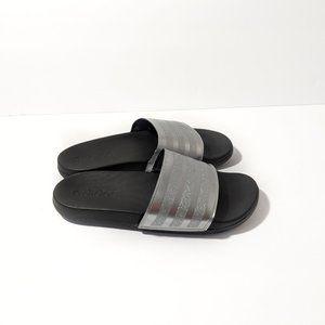 Adidas Silver Glitter Adilette Comfort Cloud Slide